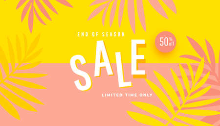 Summer sale vector illustration with tropical leaves background. Promotion banner for website, flyer and poster.
