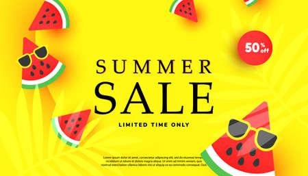 Summer sale vector illustration with tropical leaves background. Promotion banner for website, flyer and poster. Vector illustration
