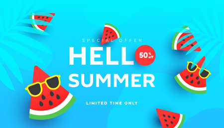 Summer sale vector illustration with tropical leaves, ripe watermelon slices pattern background. Promotion banner for website, flyer and poster. Vector illustration Illustration