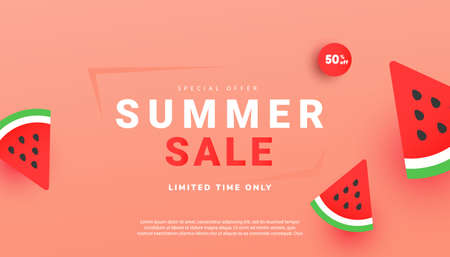 Summer sale vector illustration with ripe watermelon slices pattern background. Promotion banner for website, flyer and poster. Vector illustration