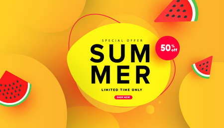 Summer sale special offer banner with sliced watermelon and bubble elements on yellow background for store marketing promotion. Illustration