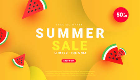 Trendy sale banner template design special offer with text and sunglasses on yellow background. Promotion banner for seasonal offer, promotion, advertising. Illustration