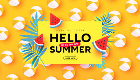 Summer sale vector illustration with tropical leaves,beach accessories, ripe watermelon slices pattern background. Promotion banner for website, flyer and poster. Vector illustration