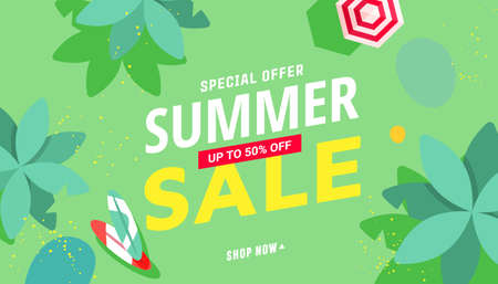 Summer sale vector illustration with tropical beach accessories, palm trees pattern background. Promotion banner for website, flyer and poster. Vector illustration