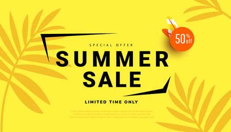 Summer sale banner template design vector illustration for seasonal offer, promotion, advertising.