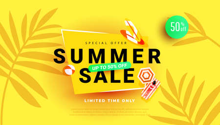 Summer hot season discount poster with tropical leaves background for seasonal offer, promotion, advertising. Vector illustration Illustration