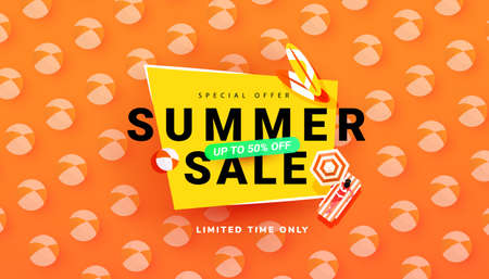 Editable sale summer banner template with beach accessories on bright backgrounds. Season 50 percent discount poster. Illustration