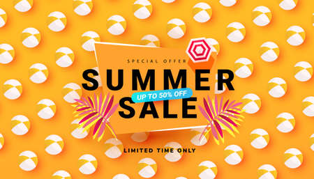 Editable sale summer banner template with beach accessories on bright backgrounds. Promotion banner for website, flyer and poster. Vector illustration