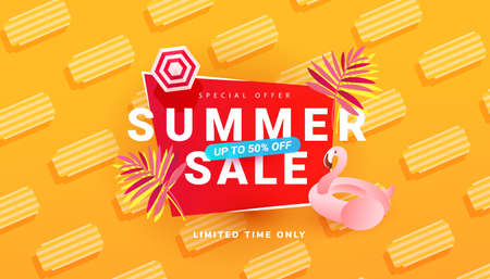 Summer sale banner template with beach accessories on bright background. Promotion banner for website, flyer and poster. Vector illustration