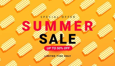 Summer sale banner template design vector illustration with sun loungers pattern for seasonal offer, promotion, advertising. Illustration