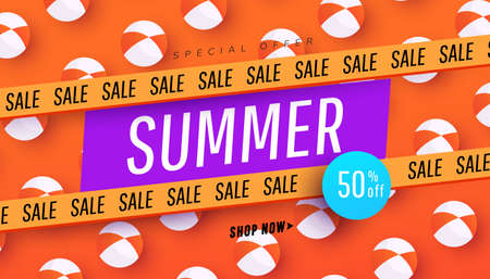 Creative summer sale banner in trendy bright colors pattern and discount text. Season promotion illustration. Illustration