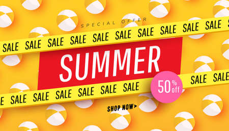 Creative summer sale banner in trendy bright colors with beach ball accessories pattern and discount text. Season promotion illustration.