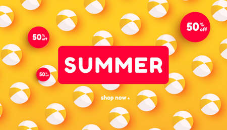 Creative summer sale banner in trendy bright colors with beach ball accessories pattern and discount text.