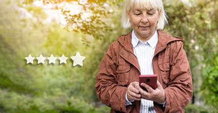 Satisfaction customer service evaluation, Client assessment survey concepts. Positive customer feedback. Premium quality. Banque d'images