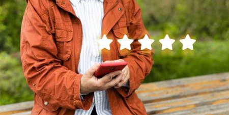 Satisfaction customer service evaluation. Client assessment survey concepts Banque d'images