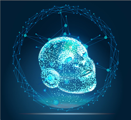 Digital particle face technology concept. Background for artificial intelligence and machine learning.
