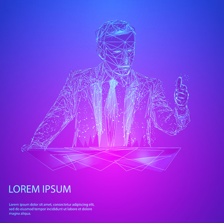 Abstract mash line and point business man