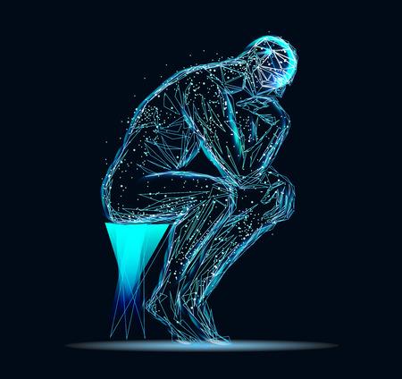Imagen abstracta de un hombre pensante Ilustración de vector