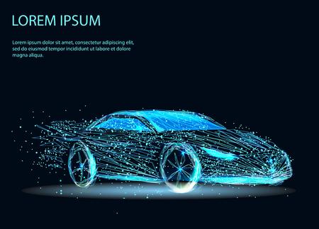 Imagen abstracta de un automóvil en forma de cielo estrellado o espacio