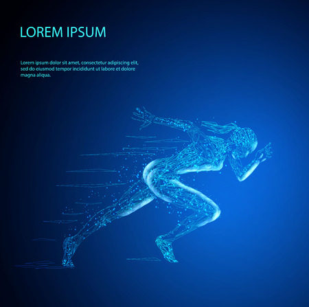 Silhouette of running woman of polygonal particles
