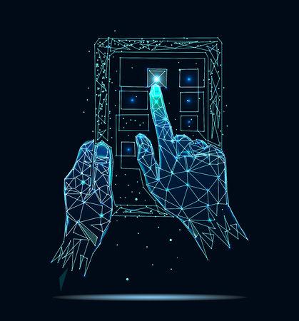 La mano sostiene la pantalla vertical táctil de la tableta y el dedo