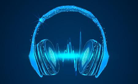 Bright glowing neon headphones Illusztráció
