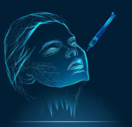 Young woman gets injection of botox in her lips Illustration