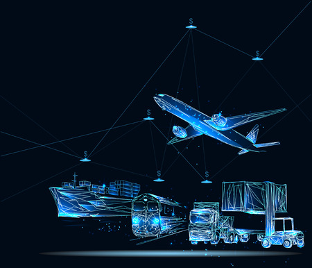 Global business connection technology interface global partner connection of Container Cargo freight train Illustration