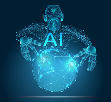 AI, Artificial Intelligence, concept. Robot change the world. Illustration