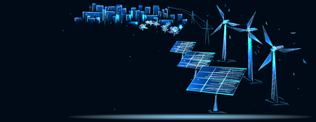 Сlean electric energy from renewable sources sun and wind Illustration