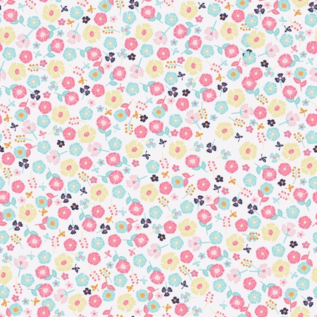 Simple cute pattern in small-scale flowers