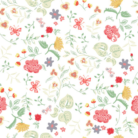Summer background with roses, yellow dandelions and butterflies Ilustração