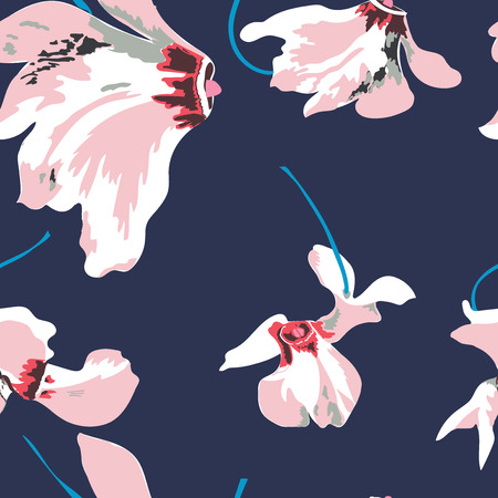 Floral seamless pattern with beautiful pink flowers. Tropical design. Illustration