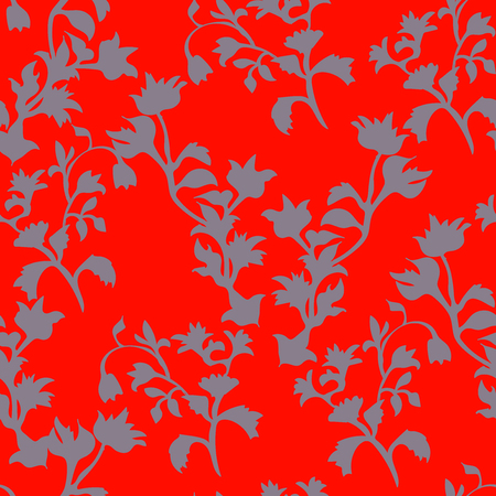 Floral seamless pattern with grey flowers on red in square format for wallpaper Illustration
