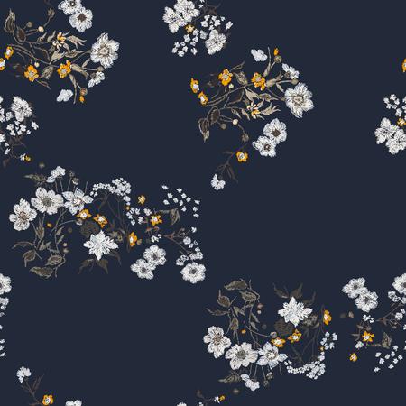 Flower seamless pattern. Field herbs daisy textile print decoration dark blue background