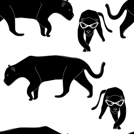 Abstract illustration of panther, animal seamless pattern,