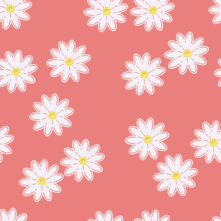 White daisies on a pink background. Seamless pattern with chamomiles on pink background. Daisy field. Stock Illustratie