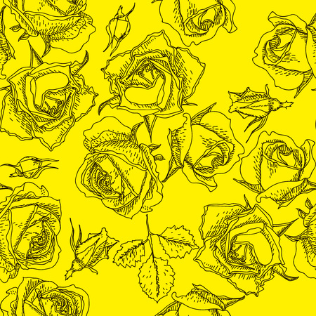 Vector seamless handdrawn pattern from roses blossom and fresh branches. Floral vintage background for textile or book covers, manufacturing, wallpapers, print, gift wrap and scrapbooking