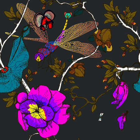 Beautiful seamless floral summer pattern background with gold dragonfly, flowers. 向量圖像