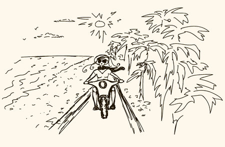 Woman biker over sunset, female riding motorcycle, motorbike driver traveling, girl racing on the beach road, freedom lifestyle. sketch.