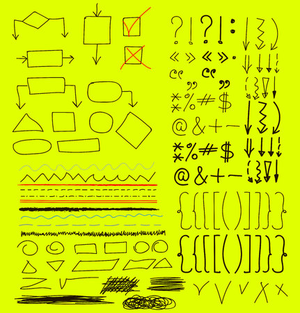 Marker pen written vector shapes Illustration