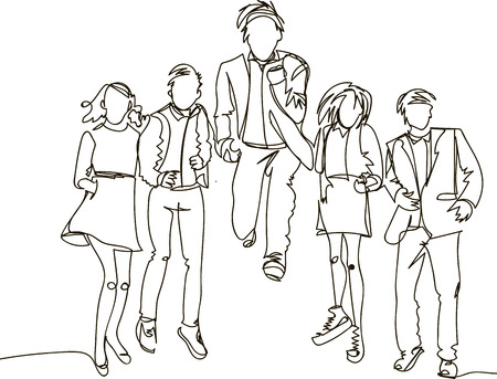 Ð¡ontinuous line drawing of jumping happy team members