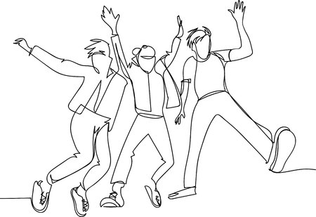 �¡ontinuous line drawing of jumping happy team members
