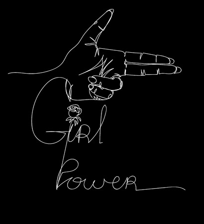 Hand drawn female hand in gun gesture, Girl Gang