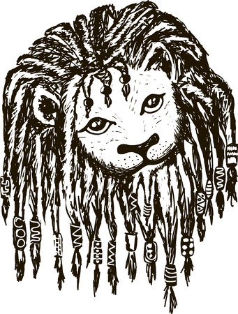 A Lion head with dreadlocks in black and white.
