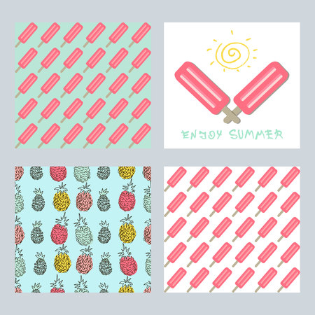 Set of creative trendy art posters plus seamless patterns with ice cream and pineapples.