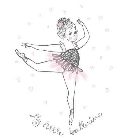 cute little ballerina, doodle nursery illustration