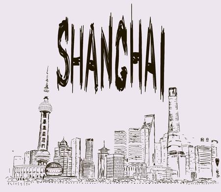 Hand drawn Shanghai street