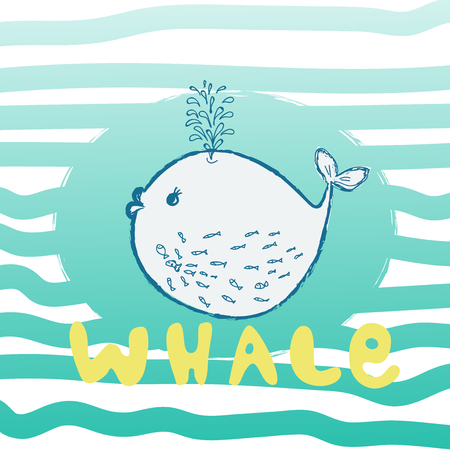 Whale are cute. Awesome whale on marine background. Lovely childish card in stylish colors. Vector illustration for t-shirt