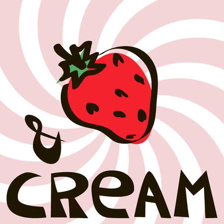 Strawberry on striped spiral pink background with text. Vector pattern for t-shirts and coatings. Fashion summer Design, print with slogan, in vector